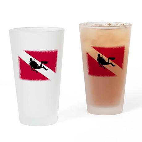 Scuba Diver & Flag Drinking Glass