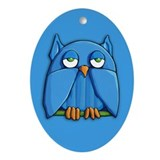 Aqua Owl aqua Ornament (Oval)