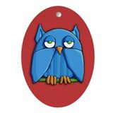 Aqua Owl red Ornament (Oval)