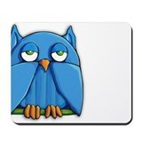 Cute Aqua blue owl Mousepad
