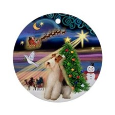 Xmas Magic Fox Terrier (W) Ornament (Round)
