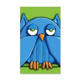 Aqua Owl green Wall Decal