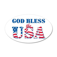 God Bless the USA 38.5 x 24.5 Oval Wall Peel