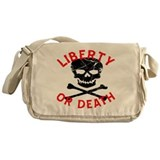 Liberty Or Death Skull Messenger Bag