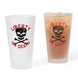Liberty Or Death Skull Drinking Glass