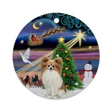 Xmas Magic & Fawn Papillon Ornament (Round)