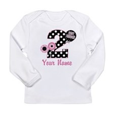 2nd Birthday Pink and Black Long Sleeve Infant T-S