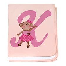Letter K Monkey Monogrammed baby blanket