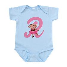 Letter R Monkey Monogrammed Infant Bodysuit