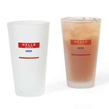 Customizable Nametag Drinking Glass