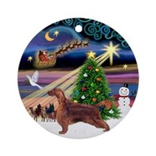 Xmas Magic Irish Setter Ornament (Round)