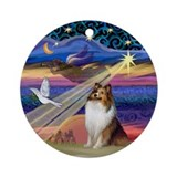 Xmas Magic Shetland Sheepdog Ornament (Round)