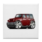 Wrangler Maroon Car Tile Coaster