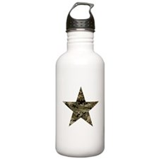 Star, distressed camo Water Bottle