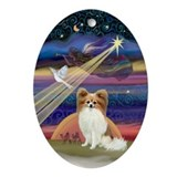 Christmas Star & Papillon Oval Ornament