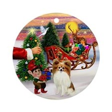 Santa's Treat for his Papillon Ornament (Round)