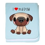 I Heart My Pug baby blanket