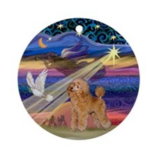 Xmas Star & Apricot Poodle Ornament (Round)