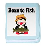 Penguin Born to Fish baby blanket