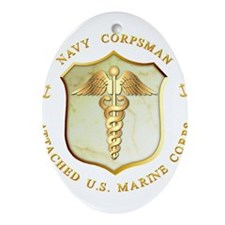 Navy Corpsman USMC Ornament (Oval)