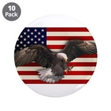 "American Flag w/Eagle 3.5"" Button (10 pack)"
