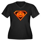 Super Pumpkin Women's Plus Size V-Neck Dark T-Shir