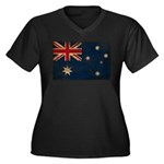Australia Flag Women's Plus Size V-Neck Dark T-Shi