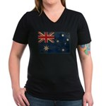 Australia Flag Women's V-Neck Dark T-Shirt