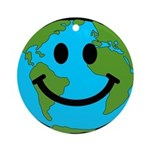 Smiling Earth Smiley Ornament (Round)