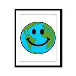Smiling Earth Smiley Framed Panel Print