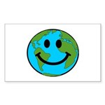 Smiling Earth Smiley Sticker (Rectangle 50 pk)
