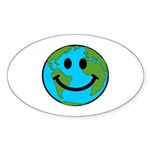 Smiling Earth Smiley Sticker (Oval 50 pk)