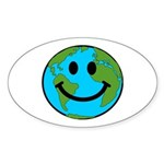 Smiling Earth Smiley Sticker (Oval 10 pk)