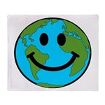 Smiling Earth Smiley Throw Blanket