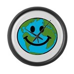 Smiling Earth Smiley Large Wall Clock