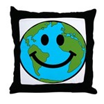 Smiling Earth Smiley Throw Pillow