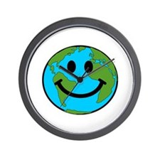 Smiling Earth Smiley Wall Clock