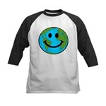Smiling Earth Smiley Kids Baseball Jersey