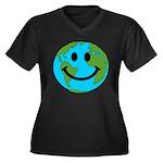 Smiling Earth Smiley Women's Plus Size V-Neck Dark