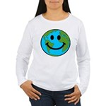 Smiling Earth Smiley Women's Long Sleeve T-Shirt