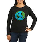 Smiling Earth Smiley Women's Long Sleeve Dark T-Sh