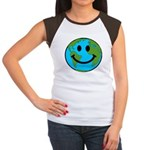 Smiling Earth Smiley Women's Cap Sleeve T-Shirt
