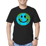 Smiling Earth Smiley Men's Fitted T-Shirt (dark)