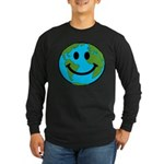 Smiling Earth Smiley Long Sleeve Dark T-Shirt