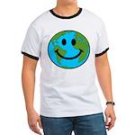 Smiling Earth Smiley Ringer T