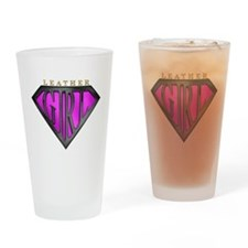 Leather Girl(Black/Pink) Drinking Glass