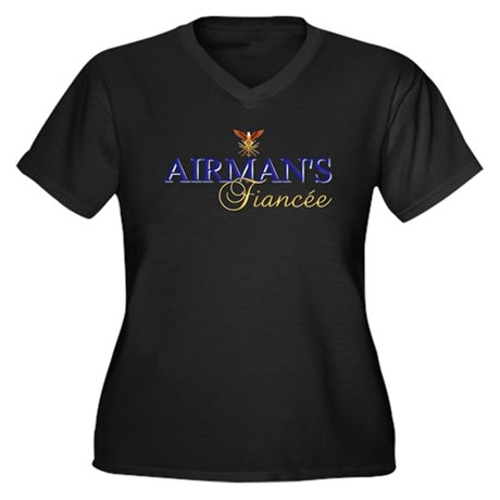 Airman's Fiancee Women's Plus Size V-Neck Dark T-S