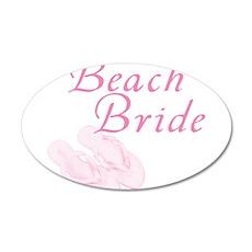 Pink Beach Bride 22x14 Oval Wall Peel