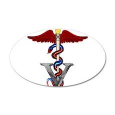 Veterinary Caduceus 22x14 Oval Wall Peel