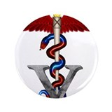 "Veterinary Caduceus 3.5"" Button"